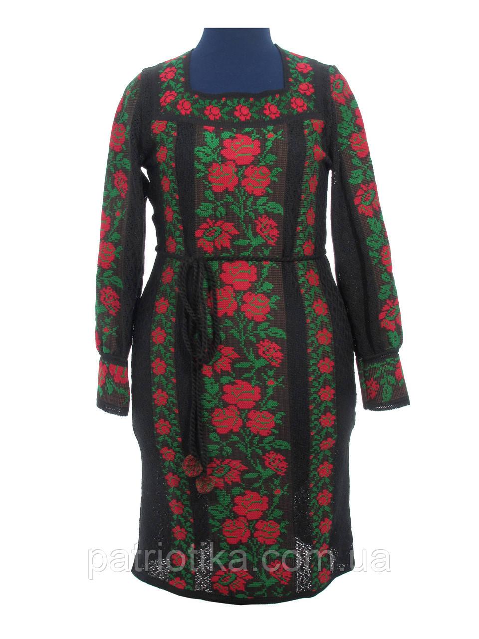 Черное вязаное платье Розы красные | Чорне в'язане плаття Троянди червоні
