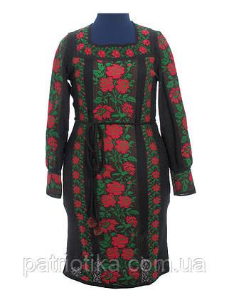 Черное вязаное платье Розы красные   Чорне в'язане плаття Троянди червоні, фото 2