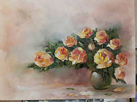 Картина на холсте маслом 30х40 Аромат роз