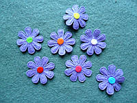 Аппликация пришивная. Фиолетовый цветок из фетра