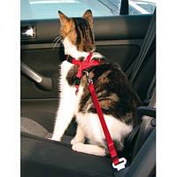 Trixie TX-1294 автошлея для кота с поводком (нейлон) 20-50см/15мм,красный