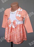 Красивое детское платье комбинированное с гипюром украшенное бантиками