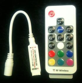 Мини контроллер для LED RGB ленты с радио пультом 12А (16 кнопок) Код. 58609