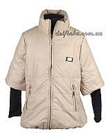Куртка для девочек  трикотажный рукав 7-10 лет цвет бежнвый