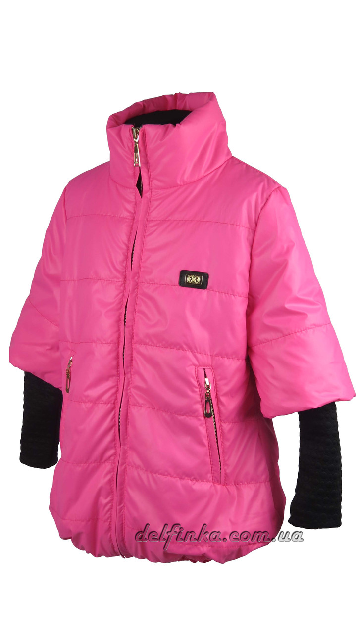 Куртка для девочек  трикотажный рукав 7-10 лет цвет малиновый, фото 1