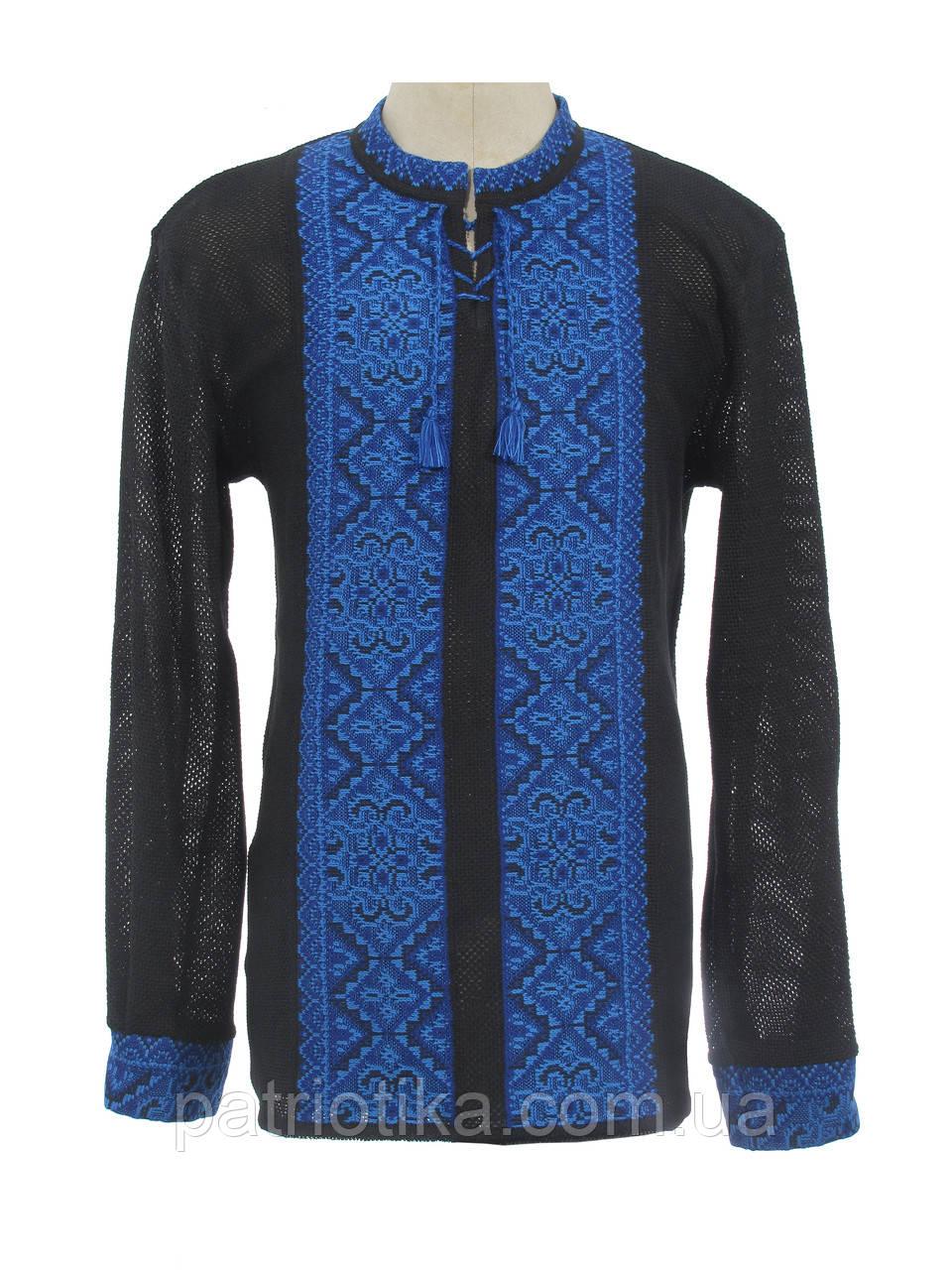 Мужская вязаная черная рубашка Влад синий х/б | Чоловіча в'язана сорочка Влад синій х/б