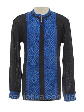 Мужская вязаная черная рубашка Влад синий х/б | Чоловіча в'язана сорочка Влад синій х/б, фото 2