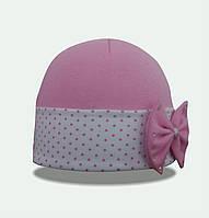 Элегантная трикотажная шапочка  с красивым бантом