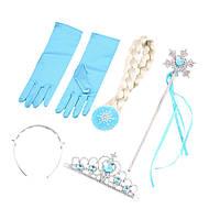 Комплект аксессуаров для наряда Эльзы ( волосы, перчатки, волшебная палочка , корона и ободок)