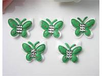 Аппликация пришивная. Зеленая бабочка