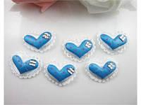 Аппликация пришивная. Голубое сердце