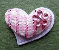 Аппликация пришивная. Розовое сердце в клеточку