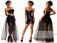 Платье в паетках с съемной фатиновой юбкой.