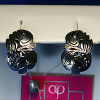 Серьги из черненого серебра с цветочным узором 21083, фото 1