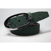 Ремень кожаный женский (зеленый)