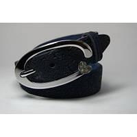 Ремень кожаный женский (синий)