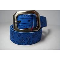 Ремень женский кожаный (голубой)