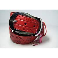 Ремень женский кожаный (красный)