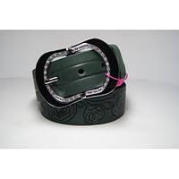 Ремень женский кожаный (зеленый) Andi 1171_069