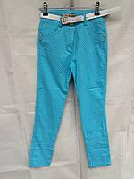 Штаны котоновые подростковые для девочки 7-12 лет,голубые