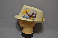 """Шляпы оптом Джокер фотопринт лен  молоко """"Messi"""""""