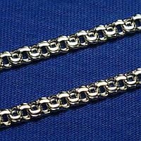 Мужская толстая серебряная цепь Бисмарк плоский 65 см 4000-б