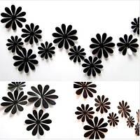 Цветы 3D декор чёрные