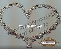 Серебряное колье с золотом и фианитом №6з