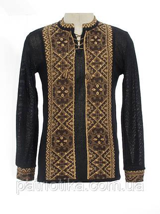 Мужская вязаная черная рубашка Влад коричневый х/б | Чоловіча в'язана сорочка Влад коричневий х/б, фото 2