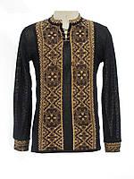 Мужская вязаная черная рубашка Влад коричневый х/б | Чоловіча в'язана сорочка Влад коричневий х/б