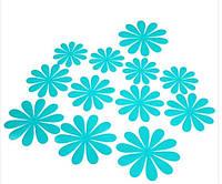 Цветы 3D декор голубые