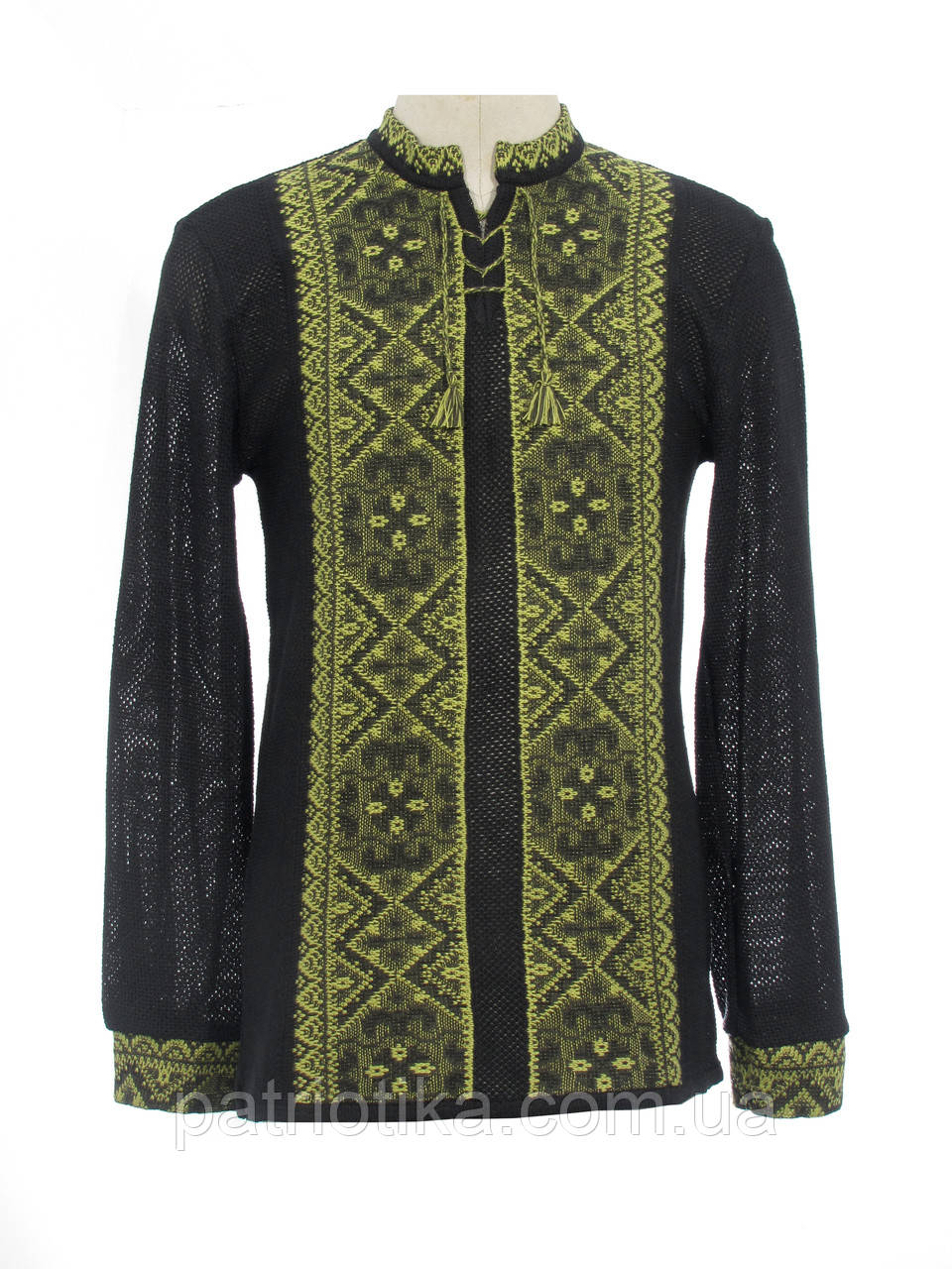 Мужская вязаная черная рубашка Влад зеленый х/б   Чоловіча в'язана сорочка Влад зелений х/б