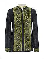Мужская вязаная черная рубашка Влад зеленый х/б | Чоловіча в'язана сорочка Влад зелений х/б