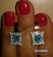 Серебряные серьги с золотом и фианитом, фото 1