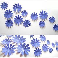 Цветы 3D декор синие
