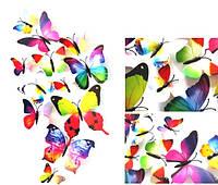 """Бабочки 3D разноцветные """"Радуга"""" 3Д декор наклейки магнит"""