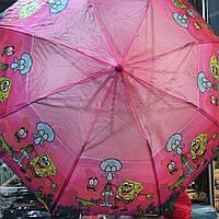 "Детский зонт ""Спанч Боб 3"" от компании Star Rain полуавтомат, 2 сложения, 8 спиц"