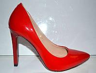 Туфли женские лаковые красные KF0282