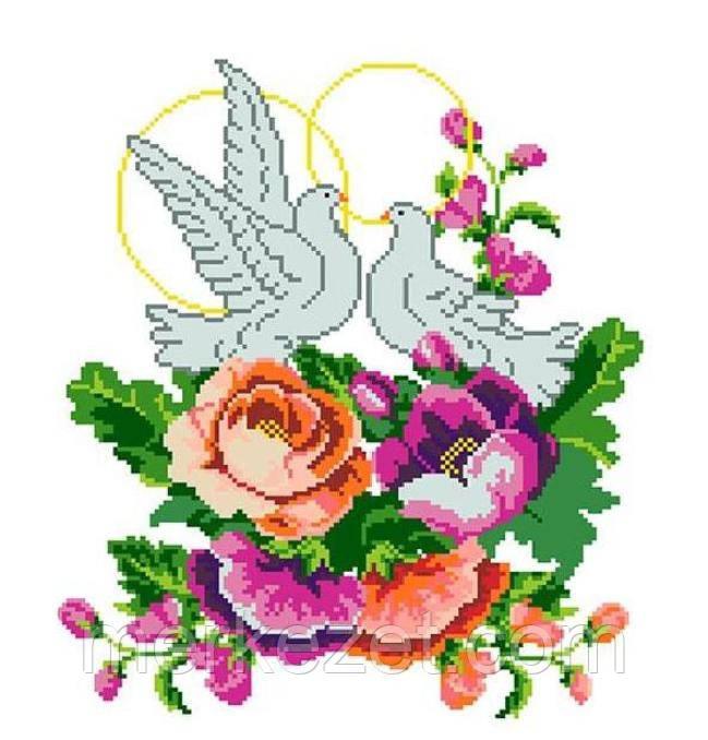 Вышивка голуби свадебная