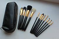 Набор натуральных кистей для макияжа 12шт + чехол Высокое качество!