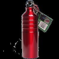 Бутылка для воды алюминивая с карабином красного цвета, 750 мл