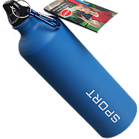 Бутылка для воды алюминивая с карабином синего  цвета , 750 мл