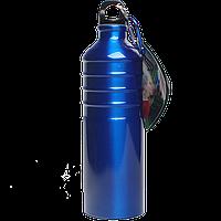 Бутылка для воды алюминивая с карабином синего цвета, 750 мл