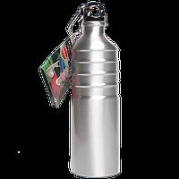 Бутылка для воды алюминивая с карабином серебряного цвета, 750 мл