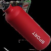 Бутылка для воды алюминивая с карабином красного цвета , 750 мл