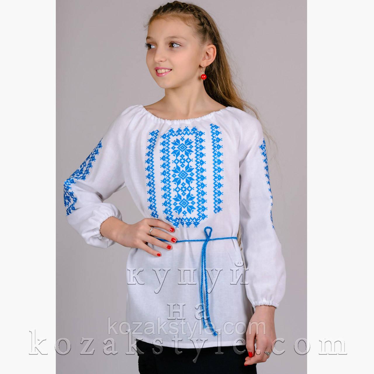 """Вишиванка для дівчинки """"Орнамент"""" (блакитний)"""