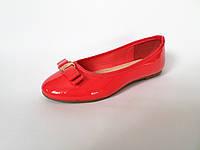 Туфли балетки лаковые с бантом FANKO