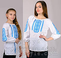 """Пара вишиванок """"Орнамент"""" блакитний (для матусі та доньки)"""