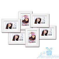 Семейный фотоколлаж Ретро на 6 фотографий 10х15, обычное стекло (белая)