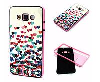 """Силиконовый двойной чехол с бампером """"Сердца"""" для Samsung Galaxy A5"""